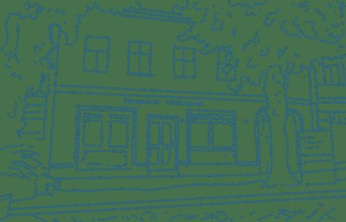 Zeichnung in Grün Filialen Neumarkt Fleischerei Standort Treuenbrietzen