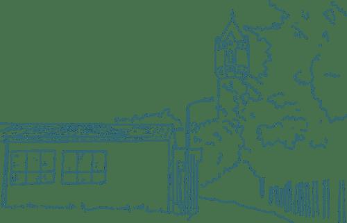Zeichnung in Grün Filiale Neumarkt Fleischerei Standort Jüterbog am Wasserturm