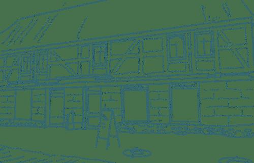 Zeichnung in Grün Filialen Neumarkt Fleischerei Standort Seyda